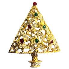 Beautiful Signed *Graziano* RS Christmas Tree Pin