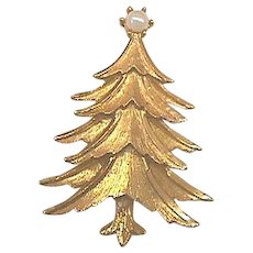 Vintage Signed MAMSELLE Christmas Tree Pin - Book Piece