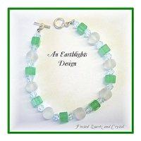 """Sea Glass"" Frosted Quartz/Crystal Bracelet"