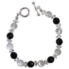 Beautiful Black Onyx/Swarovski Crystal Bracelet