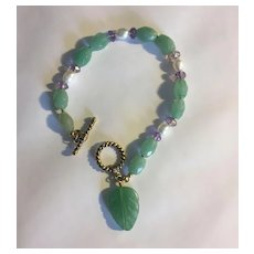 Lovely Faceted Aventurine Bracelet w/Freshwater Pearls