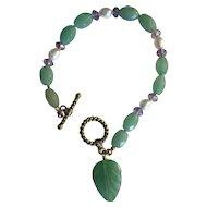 Lovely Faceted Aventurine Bracelet w/Freshwater Pearls
