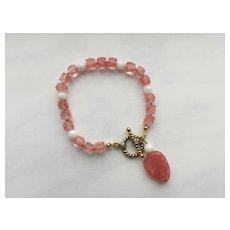 "Cherry ""Quartz"" /Mother-of-Pearl Bracelet"