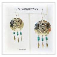 """""""Aztec""""  -  Turquoise Dangle Earrings"""