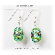Beautiful Green Dichroic Glass/Clear Quartz Earrings