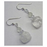Frosted Quartz Nugget Earrings