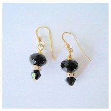 Faceted Black Onyx/Rhinestone Earrings