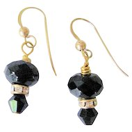Faceted Black Onyx/Rhinestone Earrings