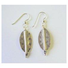 Lovely Silver Art Metal Dangle Earrings