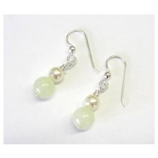Beautiful Pastel Green Serpentine/Swarovski Pearl Earrings