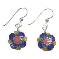 Blue Flower Cloisonne Earrings