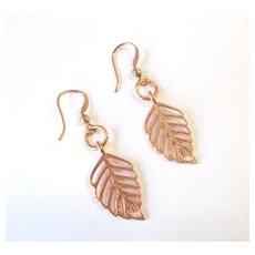 Beautiful Copper Leaf Earrings