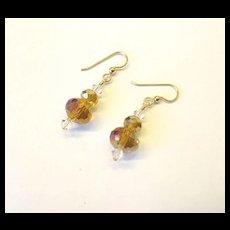 Sparkling Amber Crystal Earrings