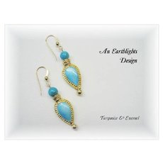 Pretty, Different Turquoise/Enamel Dangle Earrings