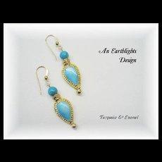 Pretty, Different Turquoise/Enamel Dangle Earrings