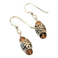 Sterling Silver and Amber Dangle Earrings