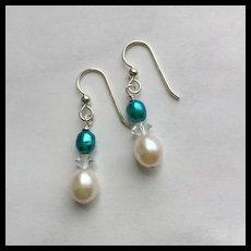 Freshwater Pearl/Crystal Dangle Earrings