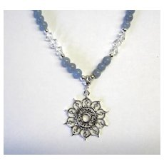 Beautiful Angelite Necklace w/Quartz and Sunburst Focal
