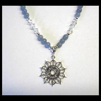 Beautiful Angelite Necklace w/Quartz and Sunburst Focal