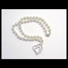 Beautiful White Swarovski Pearl Necklace w/CZ Focal