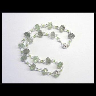 Gorgeous Pastel Green Fluorite/Peridot/Quartz Necklace
