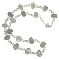Gorgeous Pastel Green Fluorite/Peridot/Quartz Necklace
