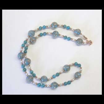 Beautiful Murano Glass/Turquoise/Copper Necklace
