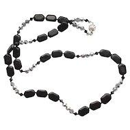 Black Onyx/Crystal Necklace