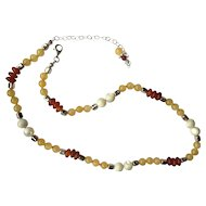 Carnelian/Golden Jasper/Mother-of-Pearl Necklace