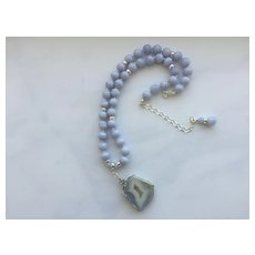 Beautiful Blue Lace Agate Necklace
