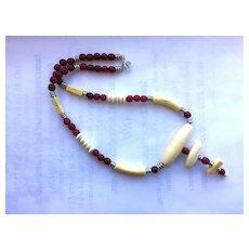 Pretty White Bone/Red Horn Necklace