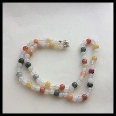 Bright Multi-Colored Jade w/White Agate Necklace