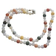 Bright Multi-Colored Jade w/White Agate Necklace