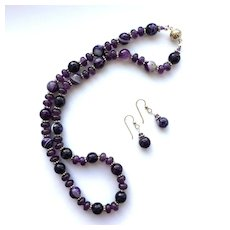 Pretty Dark Amethyst/Faceted Glass Necklace/ER Set