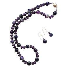Pretty Dark Amethyst/Faceted Glass Necklace/ER Set