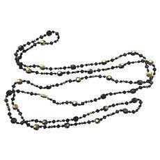 Sparkling Black Crystal LONG Necklace - So Pretty!