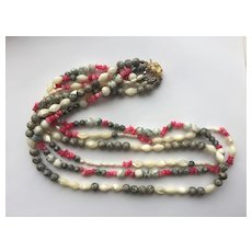 Bright White Mother-of-Pearl/Pink Shell 3-Strand Necklace