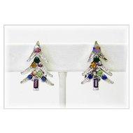 Sparkling Rhinestone Christmas Tree Earrings - Clip Backs