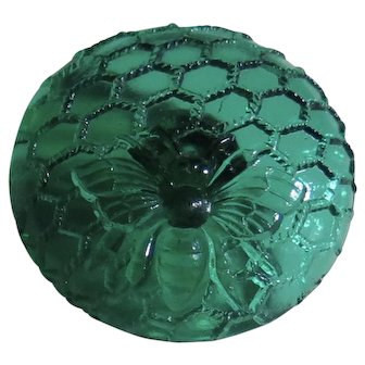 Antique Cone Shank Glass Button - Bee Insect on Honeycomb