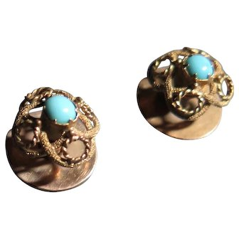 Antique Tuxedo Stud Buttons - 9 ct Yellow Gold Filigree & Claw Set Turquoise Cabochon