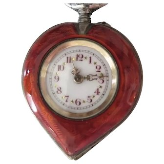 Antique SWISS Heart Guilloche Enamel Pendant Watch & Pin, 800 Silver, Gold Wash