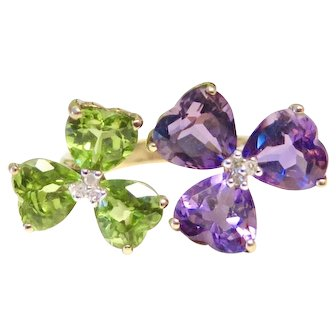 Floral Ring with Heart Shaped Petals - Peridot, Diamond and Amethyst, 10K Yellow Gold