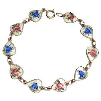 Vintage Norway Enamel Sterling Silver Heart Bracelet - Roses & Bluebells