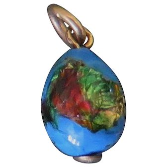 Fine Foiled Glass Egg Charm - 9ct / 9k 375 Rolled Gold, Art Deco