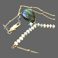 Labradorite Opal Necklace, 14k Gold filled pendant, Camp Sundance, Gem Bliss Jewelry