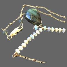 Labradorite Opal Necklace, 14k Gold filled pendant, Camp Sundance, Gem Bliss Jewelry