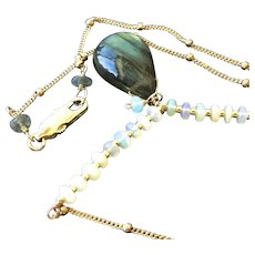Labradorite Opal Necklace, Gold fill pendant, Camp Sundance, Gem Bliss Jewelry