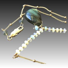 Labradorite Opal Necklace, Gold fill pendant, Camp Sundance, Gem Bliss Jewelry