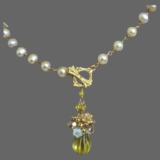 Carved Lemon Quartz Pendant, Bridal Cultured Pearl Necklace Gem Bliss
