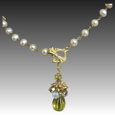Carved Lemon Quartz Pendant, Bridal Pearl Necklace Gem Bliss